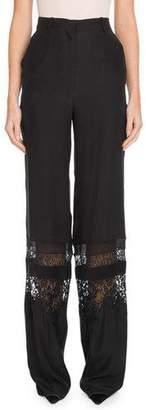 Altuzarra High-Waist Tonal Lace Panel Wide-Leg Silk Pants