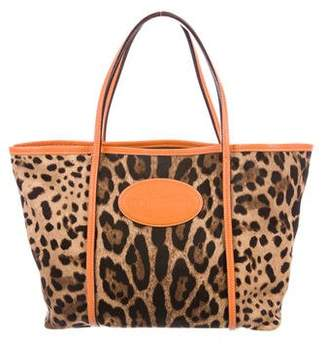 Dolce & Gabbana Leather-Trimmed Animalier Tote