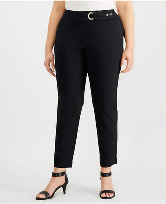 JM Collection Plus Size Tummy-Control Belt-Trim Pants