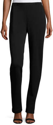 Caroline Rose Flat-Knit Wool Slim-Leg Pants, Black, Plus Size