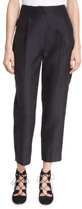 Co Classic Single-Pleat Cropped Trousers, Black