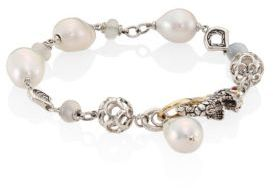 John Hardy Legends Naga 10MM White Baroque Pearl & White Moonstone Station Bracelet $1,200 thestylecure.com