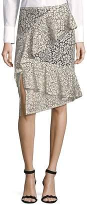 Nanette Lepore Nanette By Women's Midi Length Lace Frill Skirt