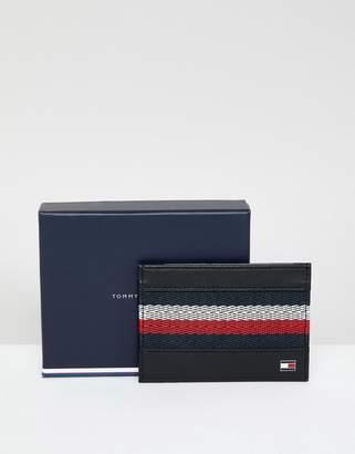Tommy Hilfiger Icon Stripe Webbing Insert Leather Credit Card Holder In Black