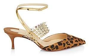 Christian Louboutin Women's Levita Studded PVC & Leopard-Print Leather Ankle-Strap Pumps