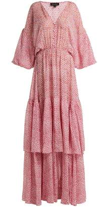 Saloni Nikki paisley-print crepe de Chine silk dress