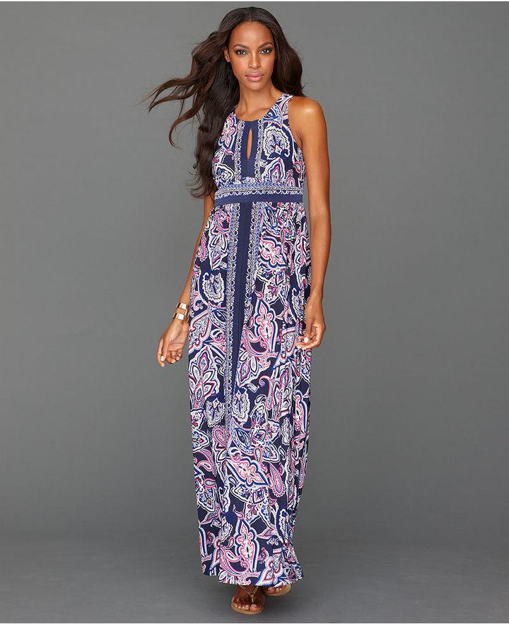 INC International Concepts Dress, Sleeveless Keyhole Printed Maxi