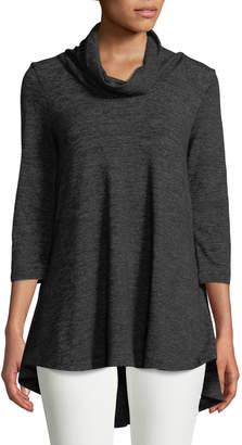 Joan Vass Faux-Suede-Trim Short-Sleeve Tunic Sweater, Camel