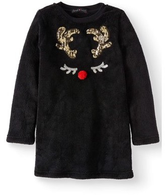 Derek Heart Holiday Sequin Plush Tunic Top (Big Girls)