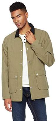 Wood Paper Company Men's Long Sleeve Lightweight Contrast Collar Zip-Front Utility Jacket