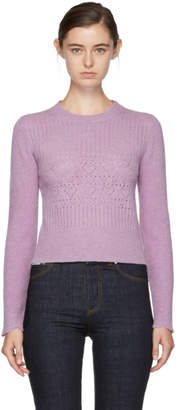 ALEXACHUNG Purple Perforated Wool Sweater
