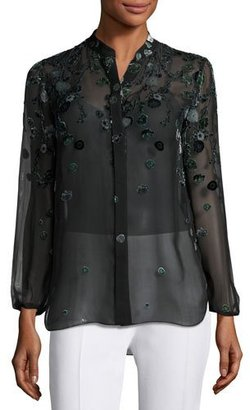 Elie Tahari Amina Long-Sleeve Floral Blouse, Dark Green Multi $398 thestylecure.com