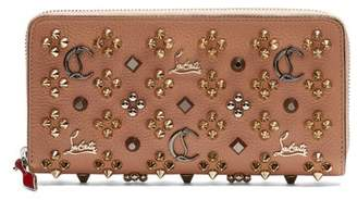 Christian Louboutin Panettone Embellished Zip Around Leather Wallet - Womens - Nude