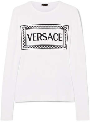 Versace Embroidered Stretch-jersey T-shirt - White