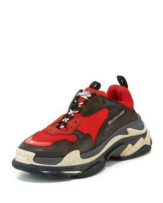 Balenciaga Men's Triple S Mesh & Leather Sneaker, Red