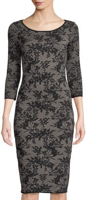 Neiman Marcus Floral-Jacquard Bodycon Midi Sweater Dress