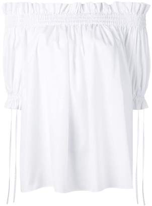 Alexander McQueen off-the-shoulder smocked blouse