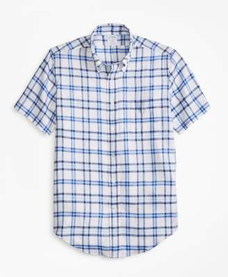 Brooks Brothers Regent Fit Tartan Irish Linen Short-Sleeve Sport Shirt