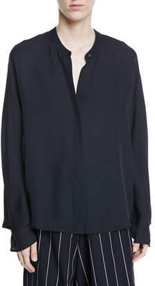 Vince Envelope-Sleeve Silk Split-Back Popover Top