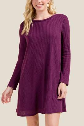 Ellison Keyhole Back Knit Dress - Purple