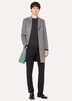 Paul Smith Men's Light Grey Wool And Cashmere-Blend Peak-Lapel Epsom Coat