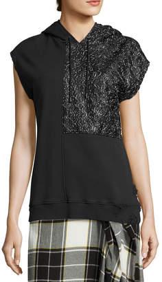Public School Bice Cap-Sleeve Lace & French Terry Hooded Sweatshirt, Black