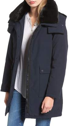 French Connection Detachable Faux Fur Collar Hooded Anorak