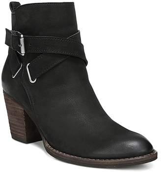 Sam Edelman Women's Morris Almond Toe Leather Mid-Heel Booties