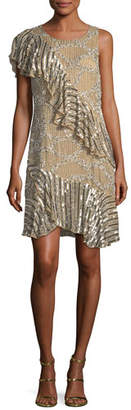 Parker Black Vivica Metallic One-Shoulder Dress