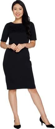 Joan Rivers Classics Collection Joan Rivers Regular Length Classic Little Black Dress w/ Lace Detail