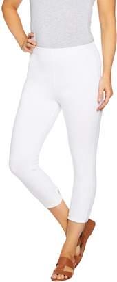 Susan Graver Weekend Cotton Spandex Capri Leggings with Cutouts