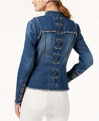 INC International Concepts I.n.c. Lace-Up-Back Denim Jacket
