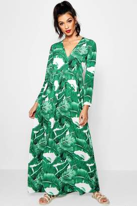 boohoo Floor Sweeping Palm Print Maxi Dress