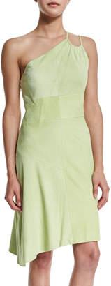 Halston One-Shoulder Suede Dress, Pistachio