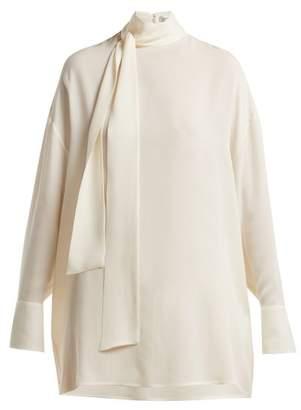 Valentino Silk Georgette Tie Neck Blouse - Womens - Ivory