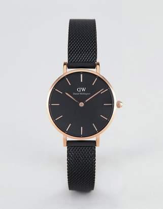 Daniel Wellington Petite Ashfield Leather Watch in Black & Rose Gold 28mm