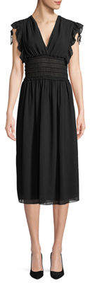 Max Studio Smock-Waist V-Neck Dress