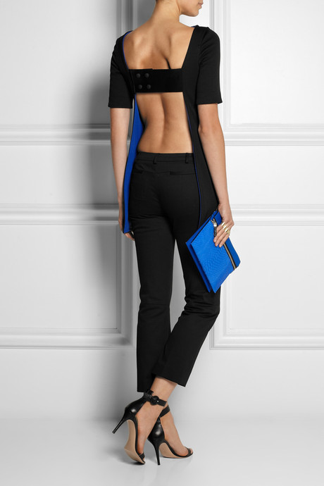 Atto Backless leather-paneled scuba-jersey top