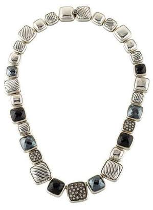 David Yurman Diamond, Onyx & Hematite Chiclet Necklace