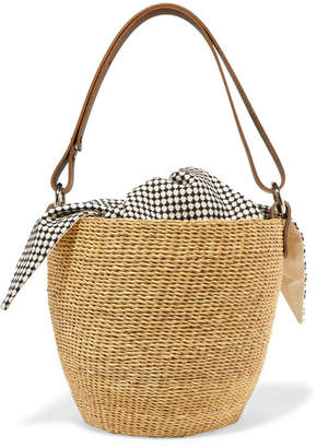 Muun Polo Straw And Printed Cotton-canvas Tote - Ecru