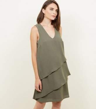 Apricot Khaki Tiered Sleeveless Dress