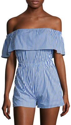Striped Off The Shoulder Romper $98 thestylecure.com