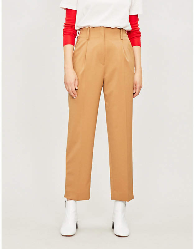 Calin high-rise straight woven trousers