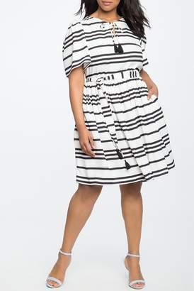 ELOQUII Circle Sleeve Fit & Flare Dress (Plus Size)