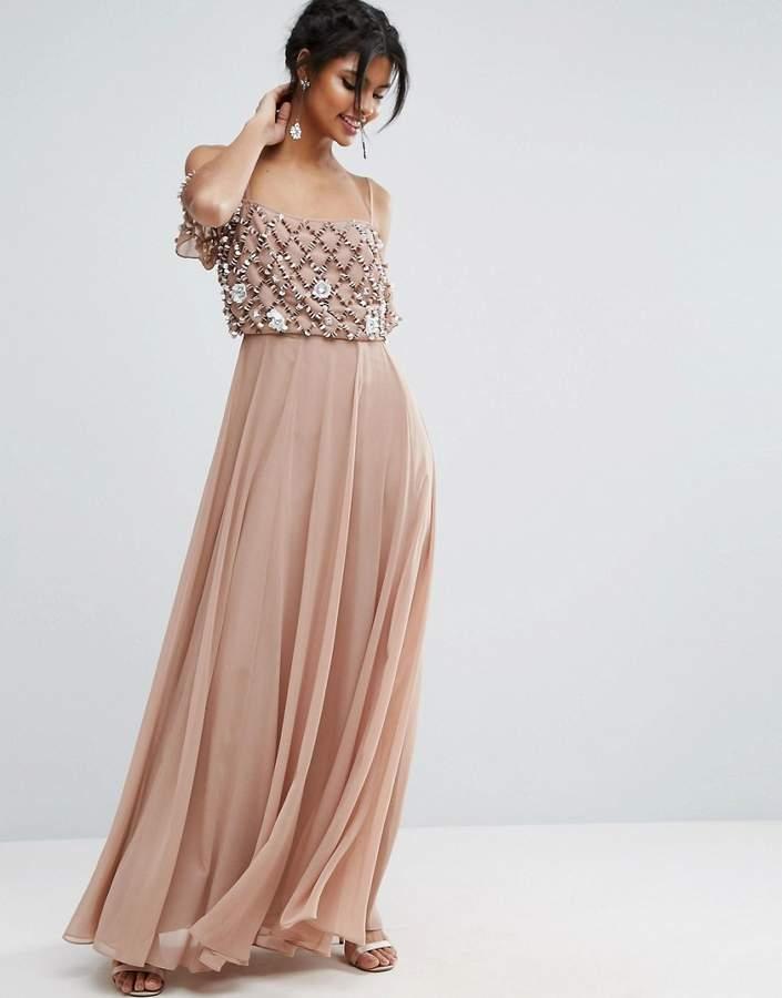 AsosASOS Floral Embellished Cold Shoulder Maxi Dress