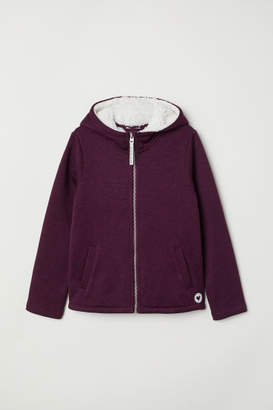 H&M Pile-lined Hooded Jacket - Purple