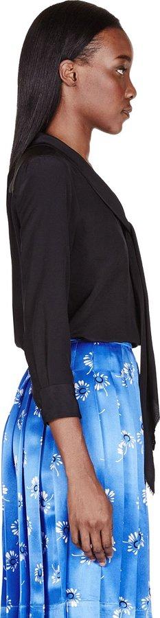 Marc Jacobs Black Crepe Tie-Neck Blouse