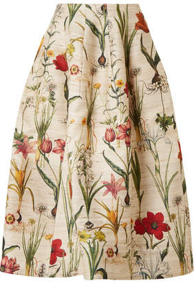 Oscar de la Renta Floral-print Silk-blend Midi Skirt - Ecru