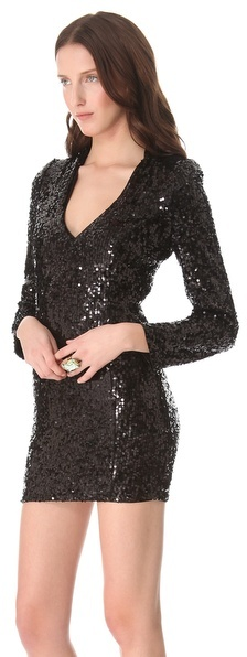 Blaque Label Sequined V Neck Dress