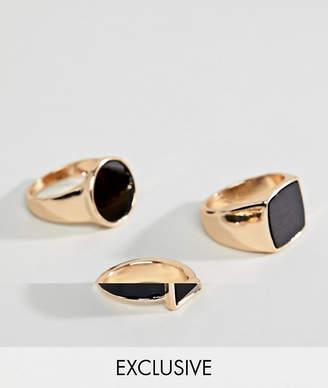 Asos DesignB London DesignB Gold & Black Signet Rings In 3 Pack Exclusive To